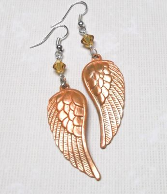 Iced Peach Angel Wing Earrings with Swarovski Crystals