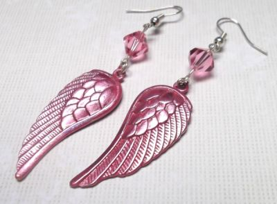 Iced Rose Angel Wing Earrings with Swarovski Crystals