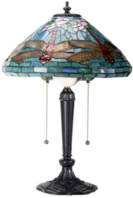 Dragonfly Art Glass Lamp