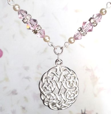 Pink Sapphire Eternal Life Celtic Necklace