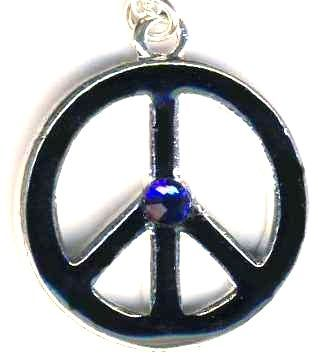 Black Enamel Peace Sign Necklace With Crystal