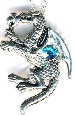 Celtic Baby Nugbert Dragon Necklace With Crystal