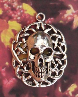 Celtic Skull With Celtic Knots Jewelry Pendant