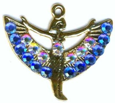 Spread Winged Isis Egyptian Necklace With Crystals