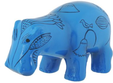 Ancient Egyptian Blue Hippo Statue