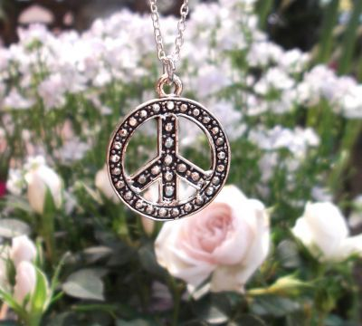 Embossed Peace Sign Jewelry Pendant