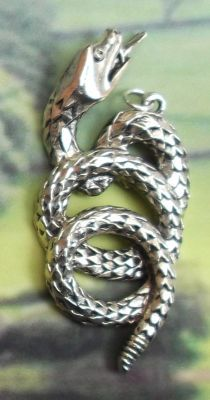 Large Coiled Snake Jewelry Pendant