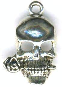 Small Skull With Rose Pendant
