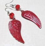 Crimson Red Angel Wing Earrings with Swarovski Crystals