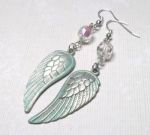 Seafoam Angel Wing Earrings with Swarovski Crystals