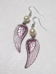 Frosted Plum Small Angel Wing Earrings