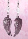 Frosted Plum Small Angel Wing Earrings with Swarovski Crystals
