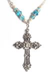 Aquamarine Renaissance Cross Celtic Necklace