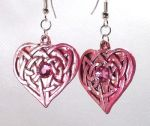 Dark Pink Celtic Devoted Heart  Earrings