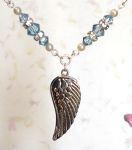 Light Sapphire Angel Wing Necklace