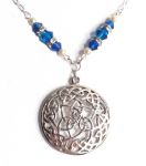 Mediterranean Blue Wheel Of Life Celtic Necklace