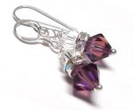 Sterling Silver Swarovski Crystal  Earrings - Amethyst