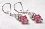 Sterling Silver Swarovski Crystal Earrings  - Rose
