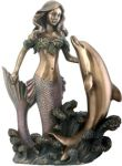 Art Nouveau - Art Deco Mermaid With Dolphin Statue