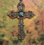 Celtic Antiqued Renaissance Cross W/aqua Crystal