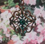 Copper Patina And Crystal Vintage Necklace