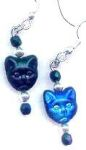 Egyptian Bast Cat Black And Blue Earrings