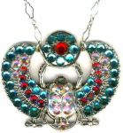 Egyptian Pharaohs Scarab Necklace With Crystals