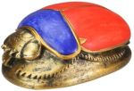 Ancient Egyptian Red & Blue Scarab Statue