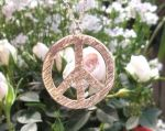 Extra-large Hammered Peace Sign Jewelry Pendant