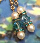 Aquamarine And Pearl Wedding Earrings