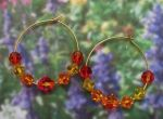 Orange Padparadcha Crystal Hoop Earrings