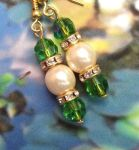 Peridot And Pearl Wedding Earrings