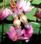 Pink Opal And Pearl Wedding Earrings