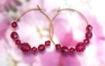 Pink Tourmaline Crystal Hoop Earrings