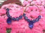 Sapphire Blue Crystal Hoop Earrings