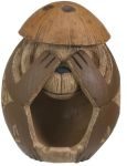 See No Evil Coconut Monkey Statue