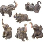 Small Elephant Statues (Set of 6)