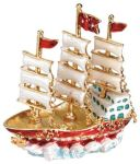 3-masted White Sails Ship Jewel Box