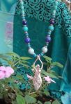 Turquoise And Blue Opal Spiral Goddess Necklace