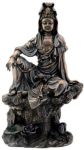 Large Bronze Finish Water Moon Kuan Yin Statue